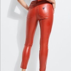Guess Red Faux Leather Pants